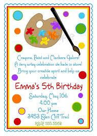 art birthday party invitation wording alanarasbach com