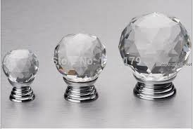 glass door pulls and knobs 40mm glass crystal drawer kichen cabinet knob handle shiny silver
