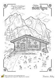dessin d u0027un beau chalet d u0027hiver dans la montagne coloriage pour