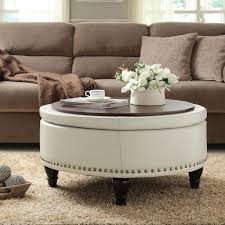 round wood coffee table tray for white leather ottoman coffee