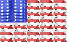 Blue White Red White Blue Flag Red White And Blue Trucks With Tractor Trailer Big Rig 18