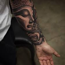 lower sleeve cool nice one rose with buddha face tattoo for men