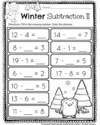 1st grade december math and literacy worksheets subtraction