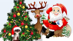 winter cute claus christmas whimsical cat santa tree santas