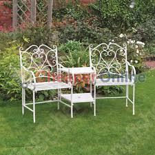 Cream Garden Bench Metal Love Seats Benches Ebay