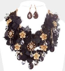 metal flower necklace images Fabric metal flower cluster vine bib necklace magical moments jpg
