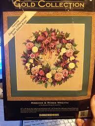 ribbons roses wreath dimensions gold bag needlepoint kit nip