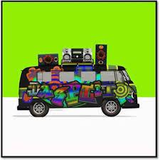 Camper Van Blinds Funky Campervan With Hi Fi On Lime Green Blinds Creatively Different