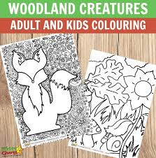 woodland creatures and kids colouring