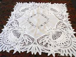 antique linen wide battenburg lace tablecloth handmade lace