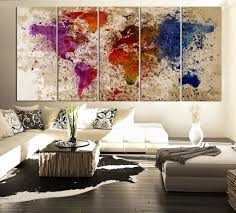 World Map Canvas Art by Large Canvas Art Splatter World Map On Old Wall Canvas Print