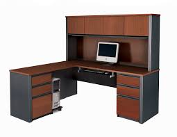 L Shape Desks Bestar Prestige L Shaped Desk And Hutch