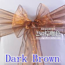 Chair Sashes Wedding Dark Brown Colour Chair Sashes Crystal Organza Sash Wedding Party