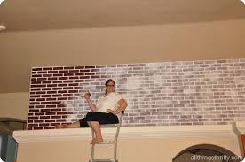 How To Paint A Faux Brick Wall - tutorial how to paint brick to make it look old all things thrifty