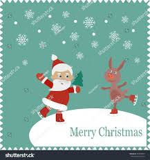 santa rabbit skates on snow christmas stock vector 339898643