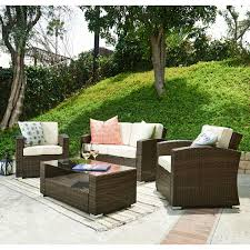 Discount Wicker Patio Furniture Sets Bahia Tan 4 Piece Outdoor Wicker Conversation Set Thy Hom