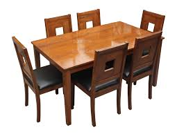 stylish teak dining with art leather chairs in 6 seater set