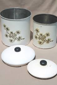 old rustic pinecones pattern tins vintage tin kitchen canisters w