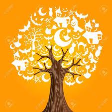 orange halloween tree halloween tree icons background vector illustration layered