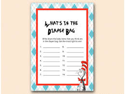 what s in the bag baby shower dr seuss baby shower magical printable