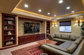 Home Theatre Wall Decor Basement Home Theater With Recessed Lights And Wall Sconces