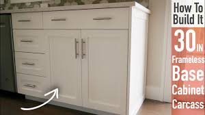 how to build a base for cabinets to sit on diy 30in base cabinet carcass frameless