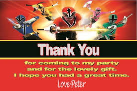 personalised power rangers thank you cards