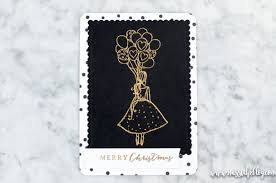 modern handcrafted christmas cards black and white glam card