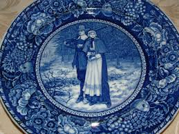 william bradford and the first thanksgiving 1906 staffordshire plate john alden and priscilla rowland