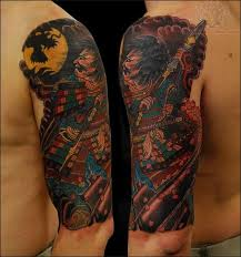 samurai dragon moon tattoo on bicep