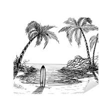 seascape drawing with palm trees and surfboard sticker