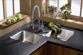 Kitchen Faucet Stainless Steel Kitchen Grey Metal Kitchen Sink Cover With Green Wooden Kitchen