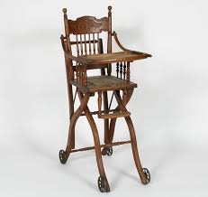 Antique Wooden High Chair Antique Victorian Children U0027s Oak High Chair Converts To Stroller