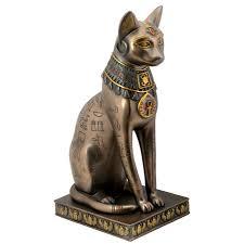egyptian cat goddess bast or bastet with egyptian symbols and