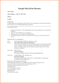 Sample Resume Objectives For New Teachers by Resume Samples For Electricians Free Resume Example And Writing
