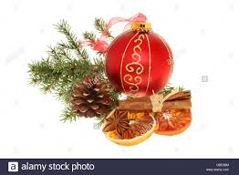 christmas decoration gold and red bauble dried orange cinnamon
