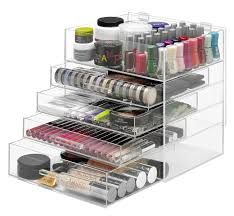 clear acrylic makeup organizer with 5 compartments 4 drawers and