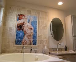 female bathroom tile mural in modern bathroom design