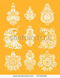 traditional russian ornament elements folk khokhloma stock vector