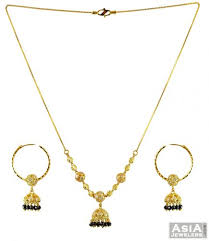beaded gold chain necklace images Gold black beads necklace set 22k ajns56027 22k fancy black jpg