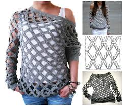 Crochet Off Shoulder Net Tunic Sweater Free Pattern Video