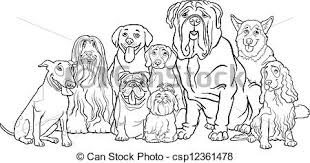 vectors illustration purebred dogs group cartoon coloring