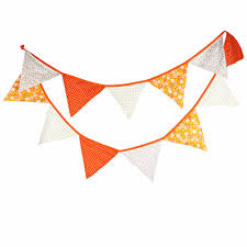 Banners Flags Pennants 12 Flags 3 2m Orange Flowers Cotton Fabric Bunting Pennant Flag