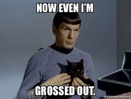 Grossed Out Meme - now even i m grossed out spock and cat meme make a meme