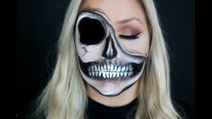 half halloween makeup half exposed skull pulled up skin halloween makeup youtube