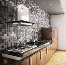 Cooktop Hoods Modern Ebony Wood Kitchen With Sink Gas Cooktop And Hood Interior