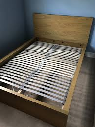 ikea malm double bed oak finish frame and lonset slatted base in