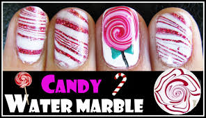 water marble tutorial valentine u0027s day candy cane lollipop nail art