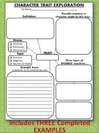 traits exploration cards graphic organizer writing activities