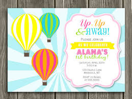 printable air balloon birthday invitation kids birthday